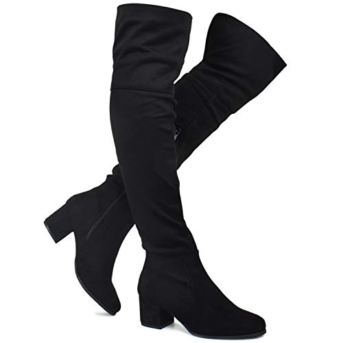 Premier Standard - Women's Over The Knee Stretch Boot - Trendy Low Block Heel Shoe - Sexy Over The Knee Pullon Boot, TPS2019100132 Black Su Size 8