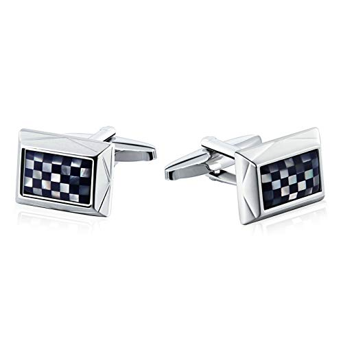 Aooaz Jewelry Men Cufflinks Square Grid Pattern Rectangle Wedding Cufflinks Silver Blue