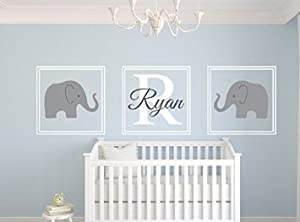 Personalised Name Wall Stickers Cute Elephant Wall Decal Sticker Kids  Bedrooms For Baby Shower Wall Decor Part 94