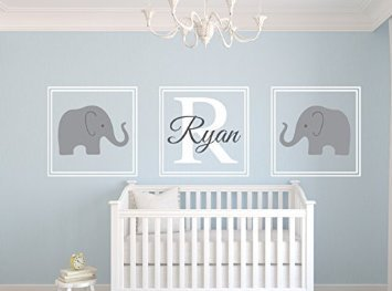 Personalised Name Wall Stickers Cute Elephant Wall Decal Sticker - Nursery wall decals uk