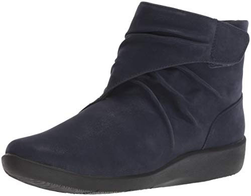 CLARKS Women's Sillian Tana Fashion Boot, Navy Synthetic Nubuck, 095 M US (Ladies Heel Boots)