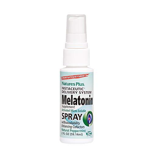 Natures Plus Melatonin Lipoceutical Spray - 1.5 mg, 2 fl oz - Natural Peppermint Flavor - Sleep aid with Vitamin B6 and Vitamin E - Vegetarian, Gluten Free - 80 Servings