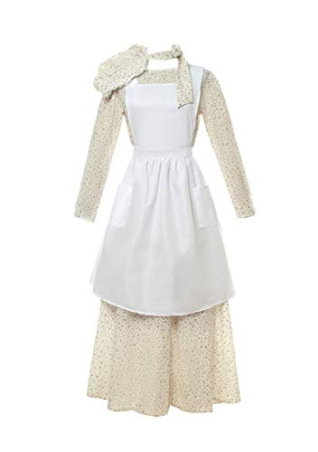 ROLECOS Pioneer Costume Dress Womens American Historical Clothing Modest Prairie Colonial Dress Purple M]()