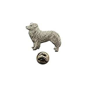 Sarah's Treats & Treasures Border Collie Pin ~ Antiqued Pewter ~ Lapel Pin 1