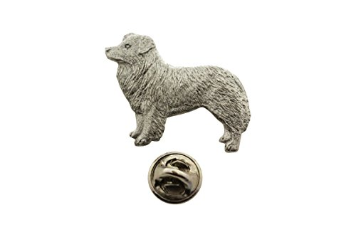 Border Collie Pin ~ Antiqued Pewter ~ Lapel Pin ~ Sarah's Treats & Treasures - Border Collie Pin