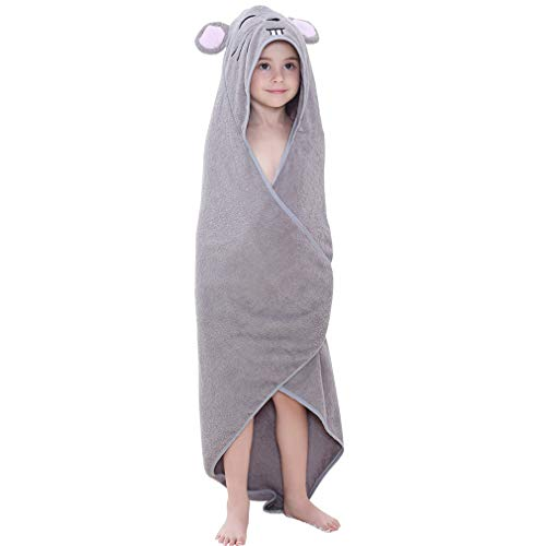 MICHLEY Animal Hooded Baby Towel Washcloth, Toddler Premium Cotton Absorbent Bathrobe for Girls Boys 0-6T (Mouse)