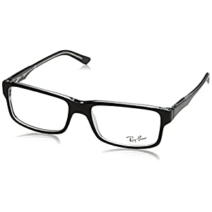 Ray-Ban Men's Rx5245 Square Eyeglasses,Top Black & Transparent,54 mm