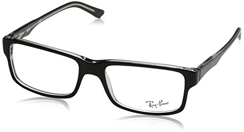 Ray-Ban RX5245 Square Eyeglass Frames, Black On Transparent/Demo Lens, 52 mm (Ray Ban Eyeglasses Made In Italy)