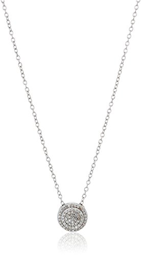 Sterling Silver Diamond Cluster Disc Pendant Necklace (1/5cttw), 18''