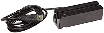 MagTek 21040145 SureSwipe Dual Head Triple Track Magnetic Stripe Card Reader with 6' USB Interface Cable, 60 in/s Swipe Speed, 5V, Black