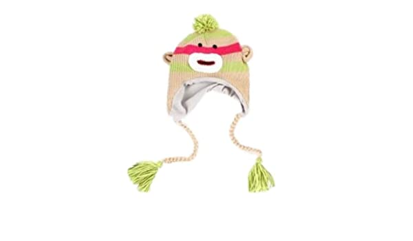 cbd25f9f Amazon.com: Manhattan Hat Company Womens Green Striped Sock Monkey Peruvian  Hat Pom Trapper: Clothing