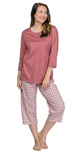 Calida Capri Pajama Set - 3/4 Sleeve 100% Cotton Knit PJs - Deco Rose (Rose/Print, S)