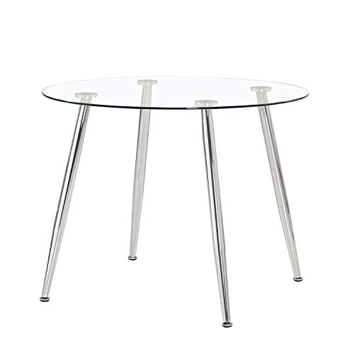 Adec - Suecia, Mesa de Comedor Redonda, Mesa de salon, Medidas: 100cm (Diametro) x 75 cm (Altura). (Cristal y Cromado)