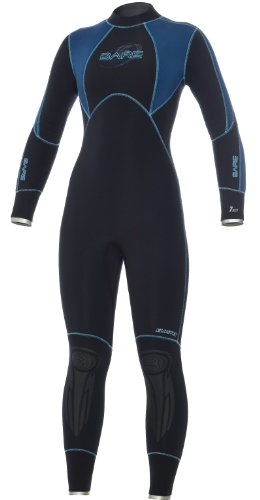 Bare 7mm Elastek Women's Full Suit Scuba Diving Wetsuit, Black Blue - SM-8