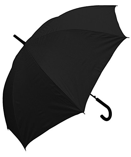 RainStoppers Auto Open European Hook Handle Umbrella, Black, 48-Inch