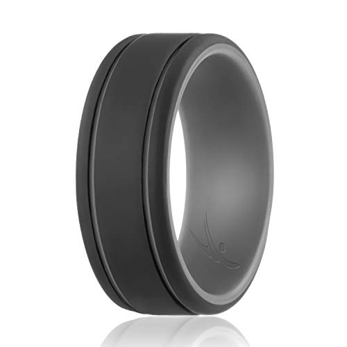 - ROQ Silicone Wedding Ring for Men - Duo Collection Lines Style- Single Silicone Rubber Wedding Band - Classic Design - Grey-Black Colors- Size 16