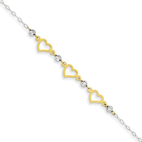 Diamond Cut Heart Link Bracelet - Solid 14k Gold Two-tone Oval Link Diamond-Cut Beads and Heart Bracelet 7.5