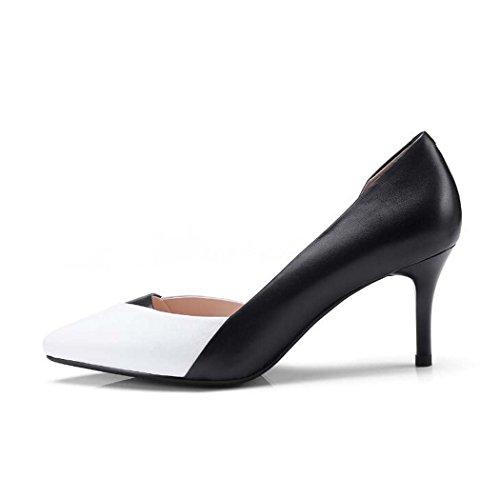 Negros Mujeres de Color Talla de 39 Zapatos Zapatos Tamaño para Tacón con Alto Punta 35 Rosas Tacón en 34 Zapatos Alto Punta Negro qpa6ndwIIW