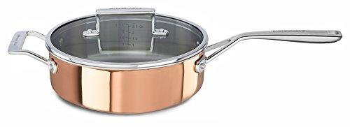 KitchenAid KC2P35EHCP Tri-Ply Copper 3.5 quart Saute with Helper Handle & Lid - Satin Copper, Medium