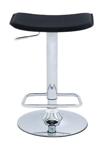 Deco 79 Metal Chrome Adjustable Vinyl Bar Stool, Black and Silver