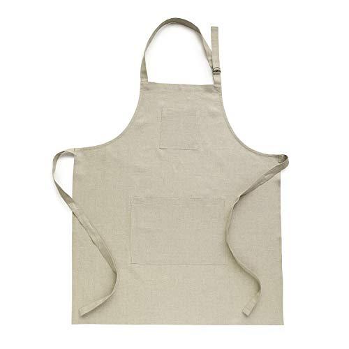 Natural Apron - Solino Home Linen Kitchen Apron - Men & Women 100% Linen Bib Apron - Adjustable Straps with Pockets - European Flax, Natural