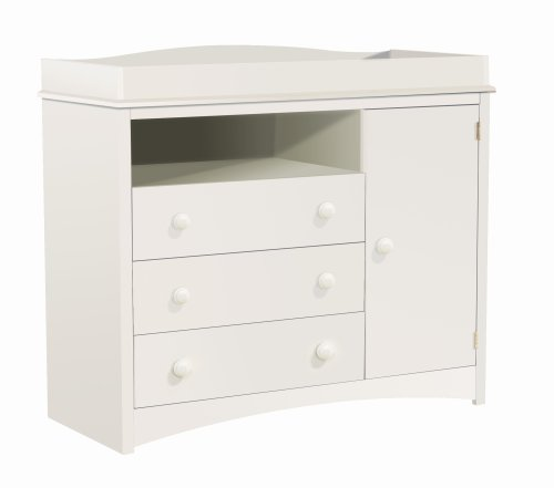 South Shore Furniture, Peak-a-Boo Collection, Changing Table with Drawers, Pure White by South Shore