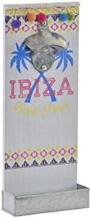 MoiR Abrebotellas Ibiza de Pared con Bandeja colector de chapas Botellín Cerveza Refrescos Decoración Madera y Metal Estilo Retro Vintage Buen Regalo para Padre y Amigos 12X4,5X30cm