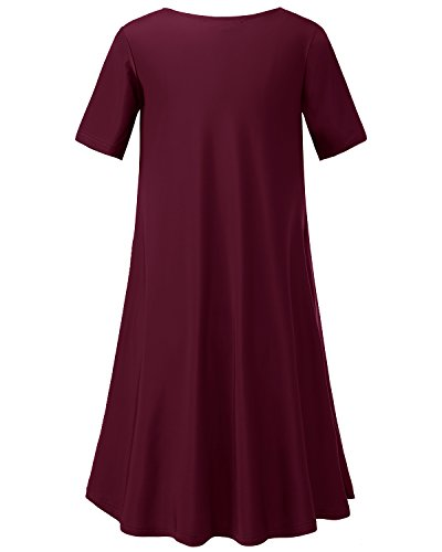 Tunic Flowy Dress T Women's Homrain Pockets Swing Burgundy Casual Shirt Loose Comfy with 6tzYxzA