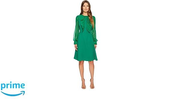 Prabal Gurung Women s Silk Cady Long Sleeve Dress Emerald 2 at ... 6e452e4b8