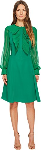 Prabal Gurung Women's Silk Cady Long Sleeve Dress Emerald - Prabal Gurung Shop