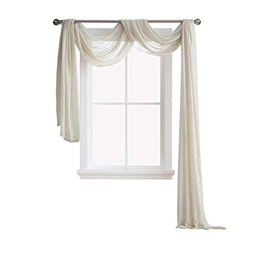 AsaTex Semi Sheer Luxury Window Scarf - Stylish Decor Window Treatments - Provide Privacy - Perfect Addition for Curtains Drapes - Soft Durable Polyester (Scarf 54x216, Beige) (Polyester Curtains Sheer Panel)