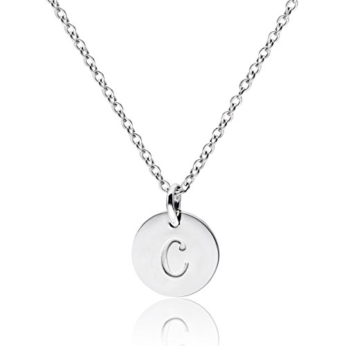 Pendant Silver Initial Sterling (Three Keys Jewelry Stainless Steel Silver Tone Initial Alphabet 0.4