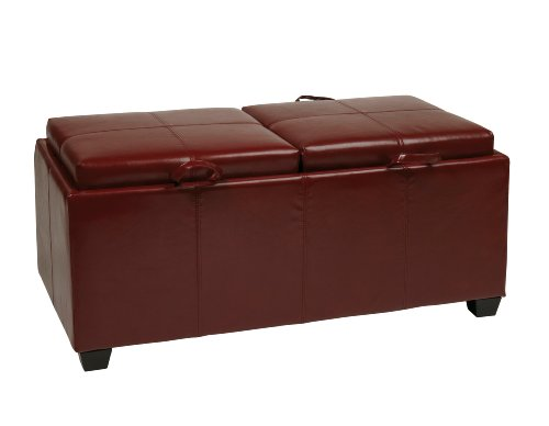 Office Star Metro Storage Ottoman Bench with Dual Trays/Seat Cushions in Eco Leather, Crimson Red