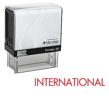 Captivating International Office Self Inking Rubber Stamp   Red Ink (A 5896)