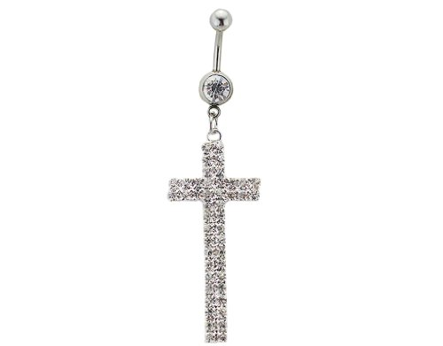 - Bonamart 1Pcs CZ Crystal Cross Navel Belly Button Rings Sexy Body Piercing Surgical Steel
