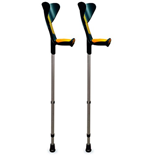 ORTONYX Forearm Crutches 1 Pair - Ergonomic Handle with Comfy Grip - High Density Sturdy Aluminum - 308lb Max