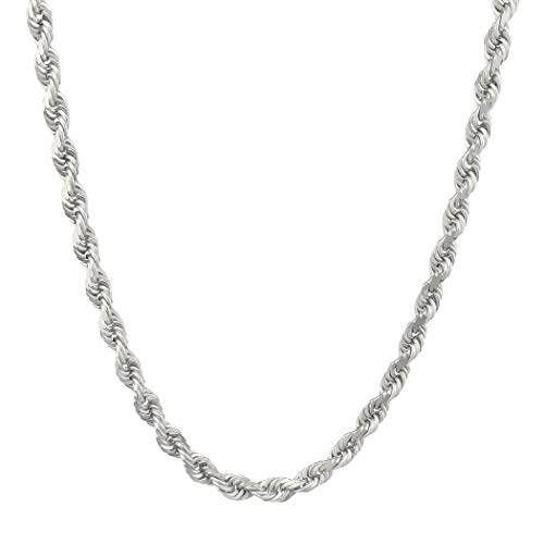 Verona Jewelers Mens Sterling Silver Diamond-Cut Rope Chain Necklace 5MM, Solid Braided Twist Rope Chain Necklace, Solid Rope Chain,Twisted Necklace (24)