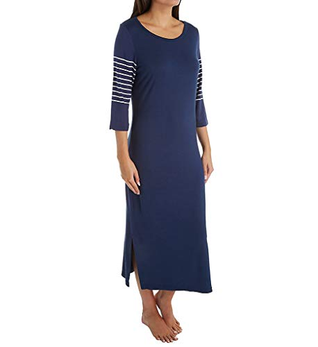 Shadowline Before Bed 46 Inch Long Gown (62018) S/Navy Stripes
