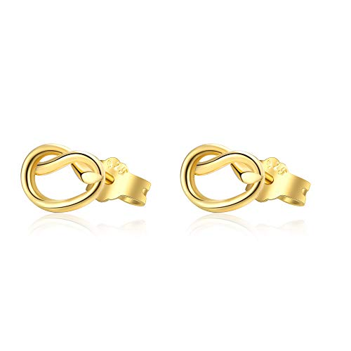 Love Knot Earrings Sterling silver, Eternity Tie Knot Stud Earrings, Jewelry Gift for Women Girls (yellow-gold-plated-silver)