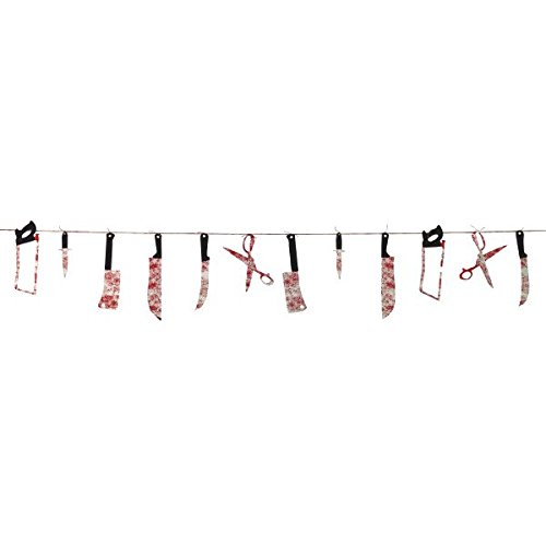 [Haunted Asylum Halloween Bloody Weapon Garland Decoration, Plastic, 7 Feet,] (Halloween Decorations)