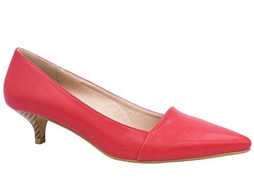 Picture of Greatonu Womens Red Matt Smart Formal Classic Mid Steaked Kitten Heel Suede Dress Pumps Court Shoes Size 5 US/36 EU