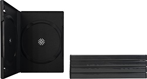 Square Deal Online - DV2R14BK - DVD Cases - 2 Disc - 14mm - with Wrap Around Sleeve - Black (5-Pack) (Double Disc Dvd Case)
