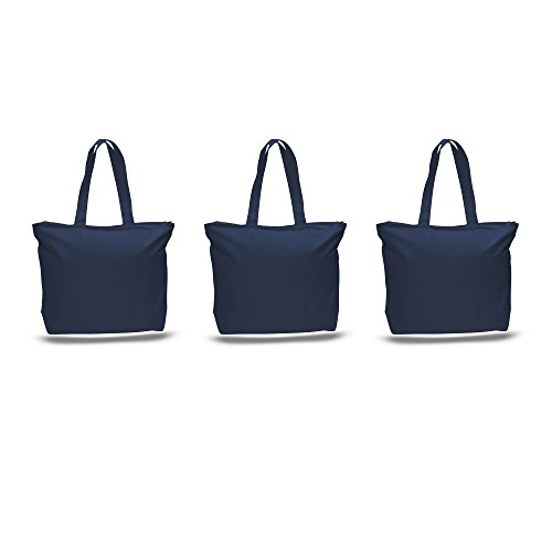 Blue Personalized Canvas (PACK OF 3 Large Heavy Canvas Plain Tote Bags, with Top and Inside Zipper Closure by BagzDepot (Navy))