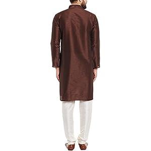 Sojanya (Since 1958) Men's Black & Maroon Silk Kurta & Churidar Pyjama Set