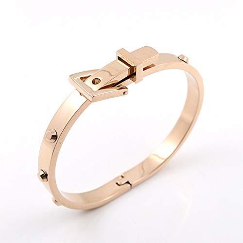 (GAJSDJHN Bracelets Stainless Steel Belt Buckle Cuff Bangles Openable Bracelets Gold Color Women Men Jewelry)