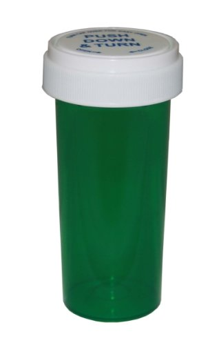 Reversible Cap Prescription Vials - Push Down and Turn - Green - 13 Dram - 12 pcs (Pharmacy Vial, Medicine Container, Pill Container)