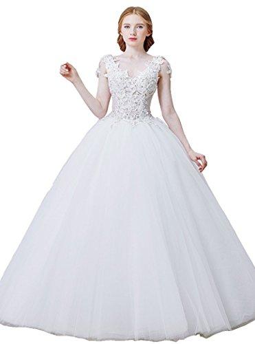 V Tunnelzug Brautkleider mit Weiß Ohne Arme Ball Beauty Spitze Emily Prinzessin Ausschnitt gSXqxxzfcy