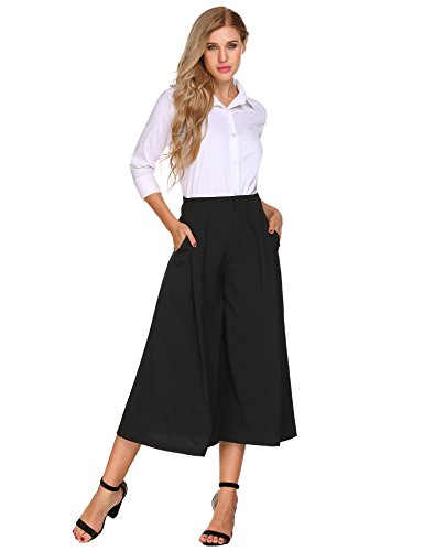 Flat Silk Pants Front (Zeagoo Women Flat Front Solid Silk-Blend Relaxed Fit Flounced Casual Wide Leg Pants,Black-side Zipper,Small)