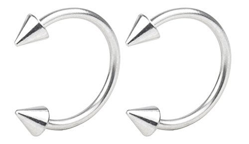 YTE 16G Stainless Steel Horseshoe Ring Stainless Steel Lip Cartilage Helix Tragus Smiley 3mm Spike 8mm Inner by YTE-NOSE RING (Image #1)