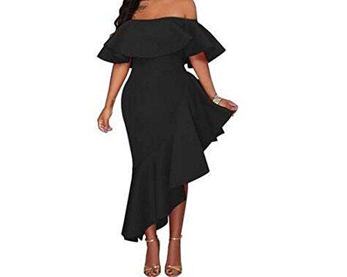 Noir Collier Robe Mot Rouge Couleur Lotus XIAOXAIO Feuilles de Taille Noir Jaune Nouveau L Femmes de CBqz55pw